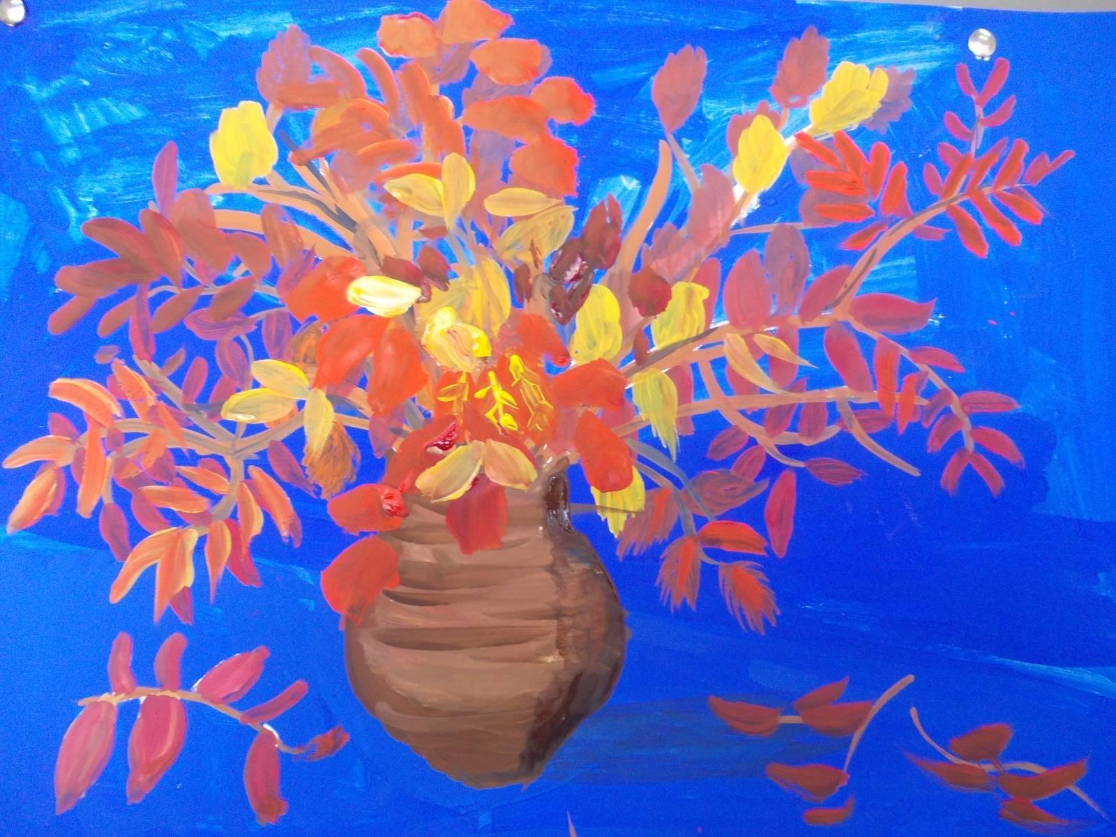 рисунки осеннего букета с разным настроением